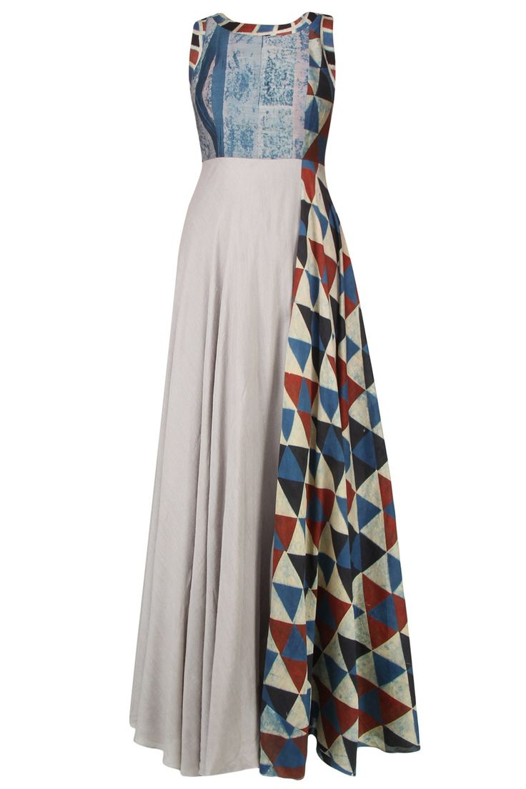 Anushree, a-grey-sleeveless-flared-maxi-dress-in-silk-base-with-chanderi-triangular-printed-blocks-on-sides-and-blue-shaded-yoke-on-front-fit-cut-for-relaxed-fit-composition-silk-chanderi-care-dry-clean-only-s-bust-36-waist-30-hip-41-len