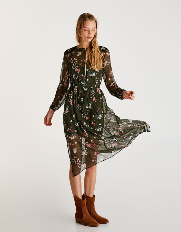 Long sleeve floral dress - Dresses - Clothing - Woman - PULL&BEAR Thailand