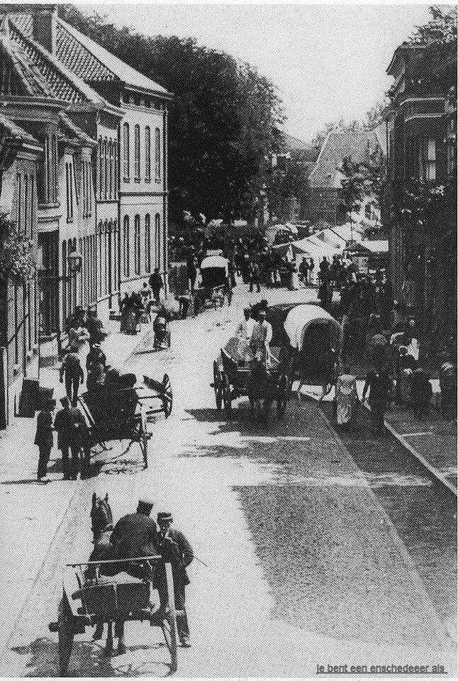 Nederland, Enschede, 1894, Langestraat richting Oude Markt