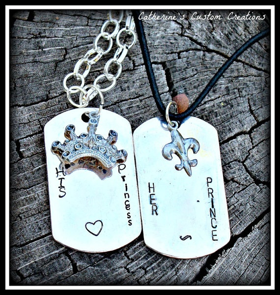 Her Prince  His Princess  Couples Necklace by CatsCustomCreations, $28.00