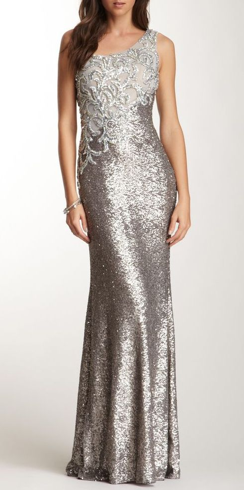 One Shoulder Rhinestone Applique Gown