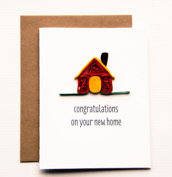 New Home Card - Perfect gift for someones housewarming. All our handmade greeting cards are made using the ancient art of paper quilling and is sure to be treasured as a keepsake forever. DETAILS: - 5.5 x 4.25 A2 folded card - A2 100% recycled kraft envelope - Professionally