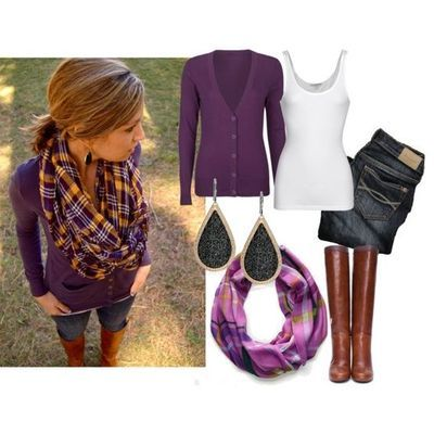 purple cardigan outfit...I would add a little Viking logo!!! =)