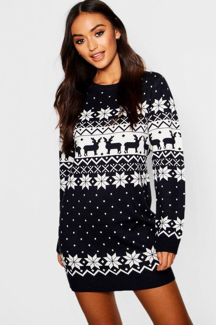 Petite Fairisle Christmas Jumper Dress boohoo