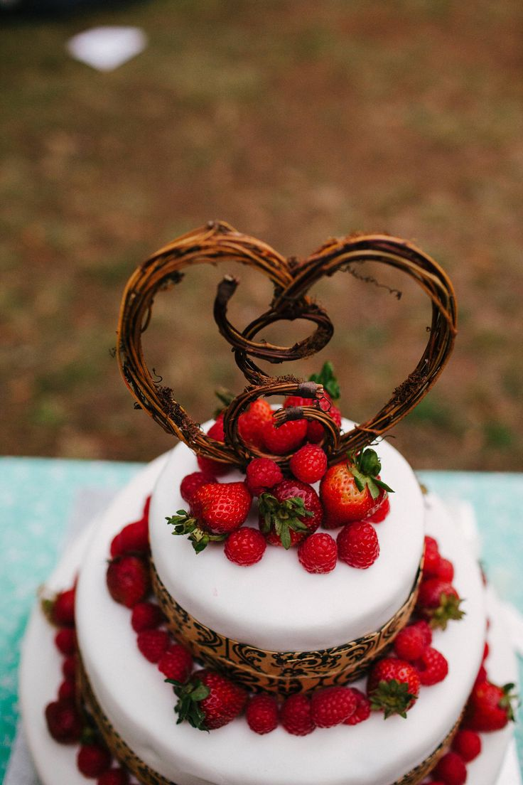 Rustic Wedding Cake With Twigs