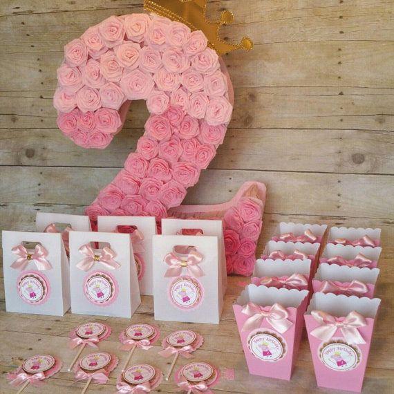 Rosa y oro partido Peppa pig inspirado tema por HeidiPartyCreations