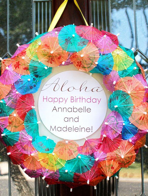 Luau Door: Luau Parties, Birthday Parties, Theme Parties, Beach Parties, Summer Wreaths, Summer Parties, Front Doors, Parties Ideas, Umbrellas Wreaths