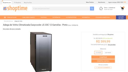 [Shoptime] Adega de Vinho Climatizada Easycooler JC - 33C 12 Garrafas - Preto - de R$ 680,67 por R$ 527,99 (22% de desconto)