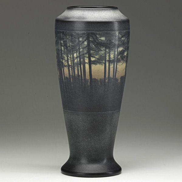 EDWARD T. HURLEY  ROOKWOOD  Tall Scenic Vellum vase of woodlands, Cincinnati,1909