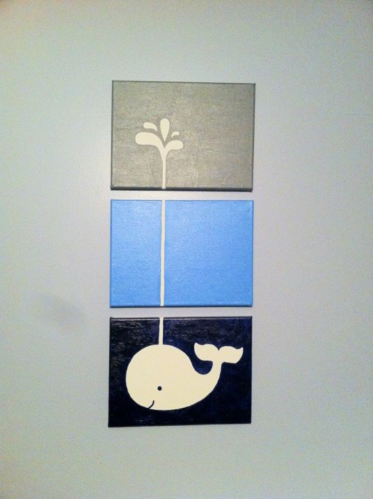 DIY whale painted canvas nursery art