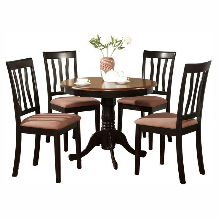 East West Furniture Antique 5 Piece Pedestal Round Dining Table Set with Microfiber Seat | from hayneedle.com