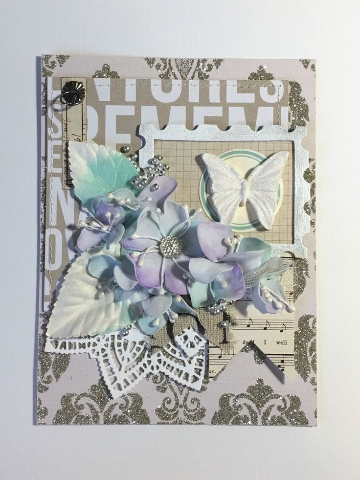 Card with foamiran flowers and butterfly