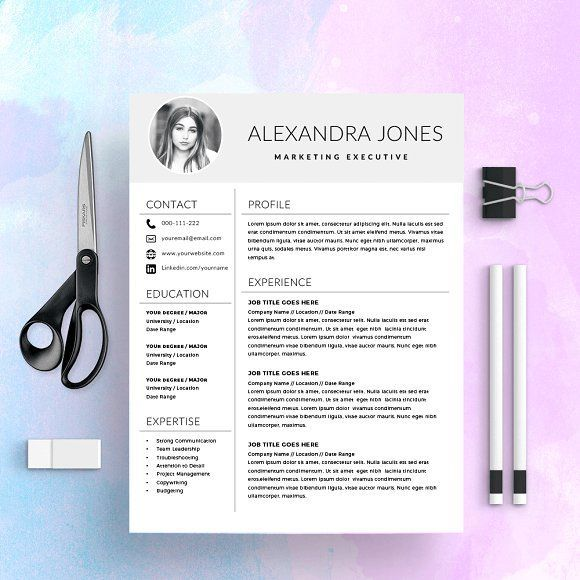 Resume Template / CV with Photo by Kingdom Of Design on @creativemarket