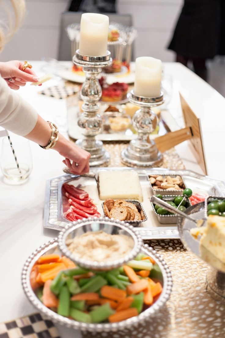 Party appetizers and cheese trays on Julia Knight tray