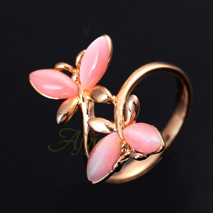 Ajojewel Women's Brand Beautiful Rose Gold Plated Double Pink Opal Ring Butterfly
