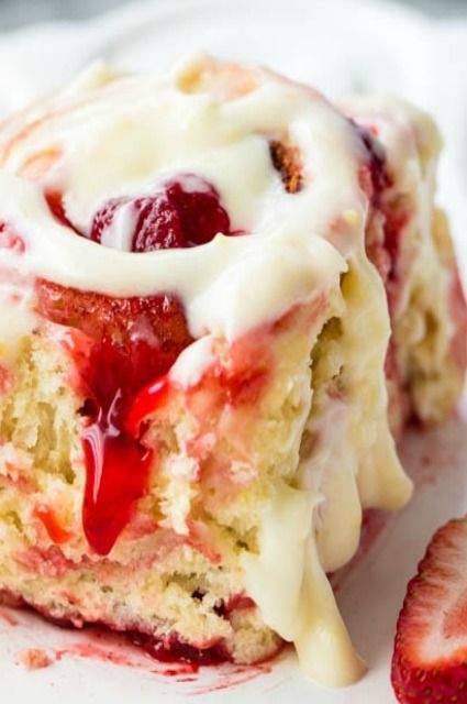 Strawberry Cinnamon Rolls with Lemon Cream Cheese Glaze #Provestra #Skinception #coupon code nicesup123