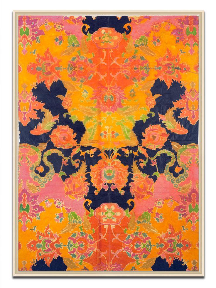 Stunning colour combination.Orange, Frames Prints, Art, #Soicher Marines, Bohemian Bedrooms, Indian Batik, Batik Prints, Bedrooms Ideas, King Lane