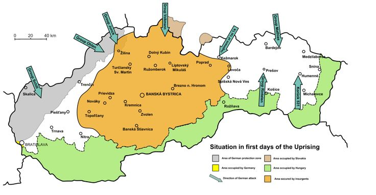 A map of the Slovak National Uprising at its beginning in 1944