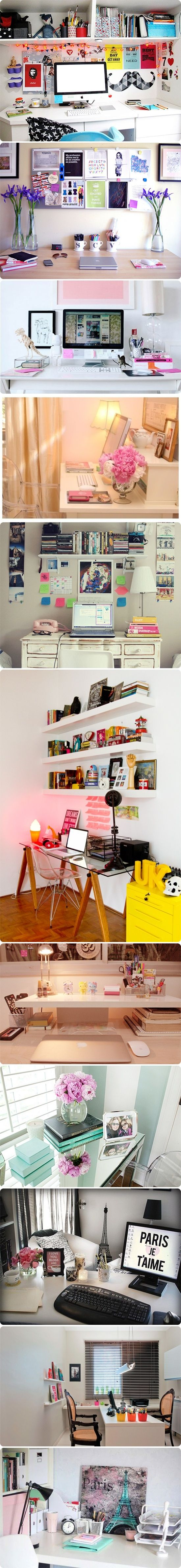 Beautiful desks! | Great inspiration for your uni room | For more student stuff…