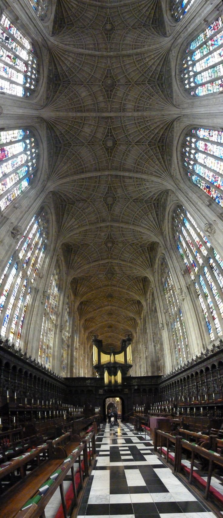 The world's largest fan-vaulted ceiling. Kings College Chapel, Cambridge. Built 1512 - 1515.