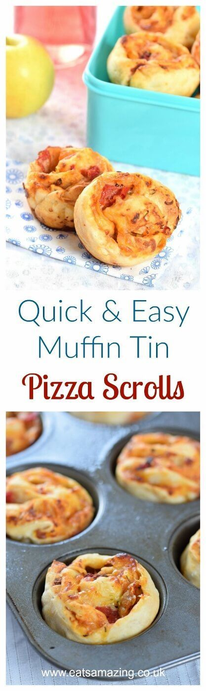 Really easy muffin tin pizza scrolls recipe - great for freezing for kids school lunch boxes - Eats Amazing UK