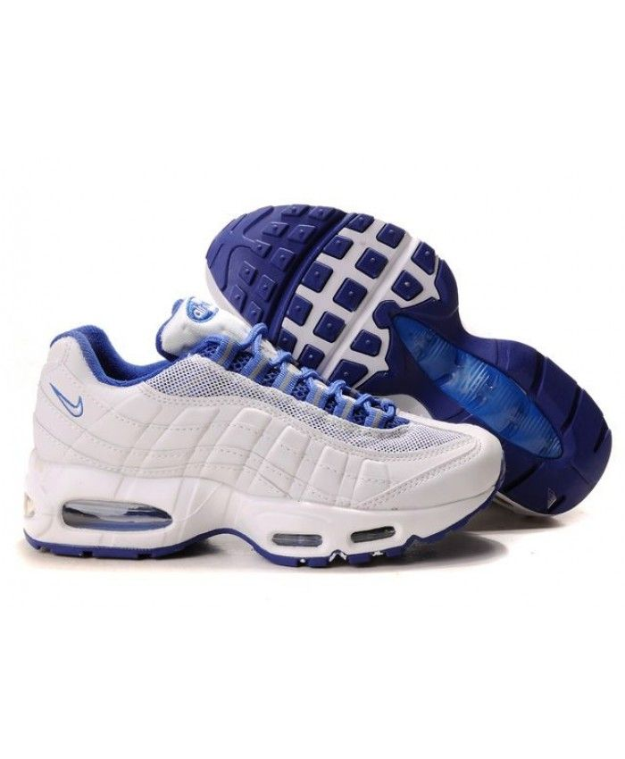 new concept b5d56 6ca25 Nike Air Max 95 Original White Royal Blue Trainers