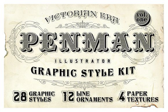 Penman Vintage Graphic Style Kit by Designdell on @creativemarket