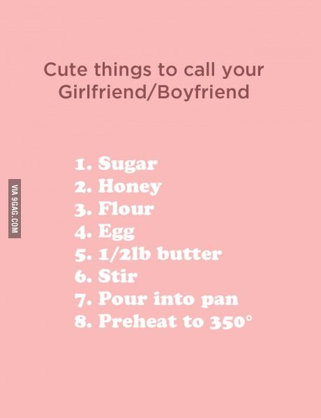 Cute things to call your Girlfriend/Boyfriend