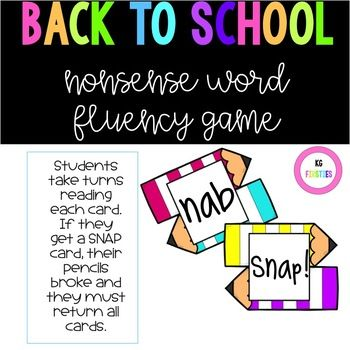 If you work on nonsense fluency words, this game is perfect for you! Aligns well for practicing for DIBELS testing. 28 NWF cards with 8 SNAP cards. Just print, laminate for durability, and shuffle! My first grade friends love reading these! They have to read the word as a whole word or
