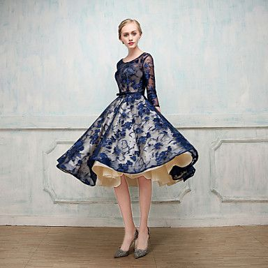 Cocktail+Party+Dress+-+Open+Back+Elegant+Lace-up+Pattern+Dress+Ball+Gown+Jewel+Tea-length+Lace+Charmeuse+with+Beading+–+CAD+$+386.41