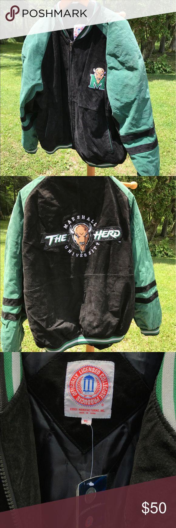 Leather jacket olx - Marshall University Logo Jacket Suede Leather Xl