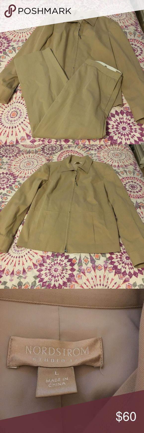 Nordstrom suit! Super cute tan Nordstrom suit! Little darker than pic! Great condition!!! Top Size L bottoms size 10. (#293) Nordstrom Jackets & Coats