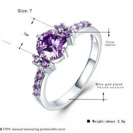 MDEAN White Gold Purple Color  AAA Zirconia Engagement Rings For Women