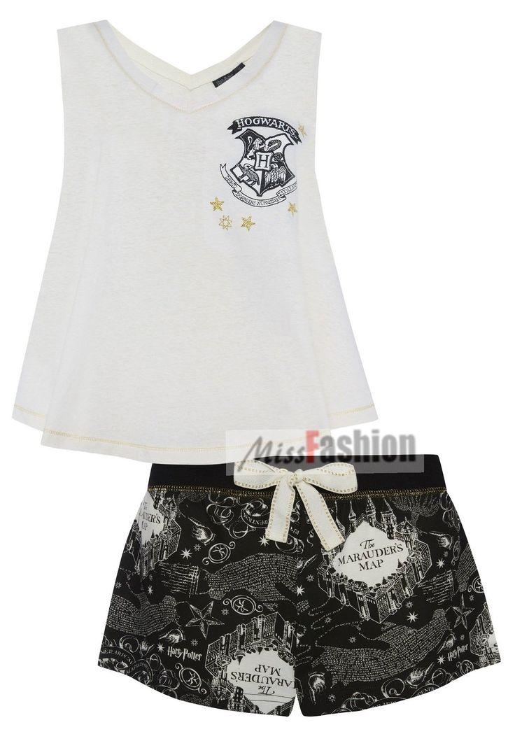 Ladies Girls Harry Potter HOGWARTS MARAUDERS MAP Pyjama Set vest and shorts: Amazon.co.uk: Clothing