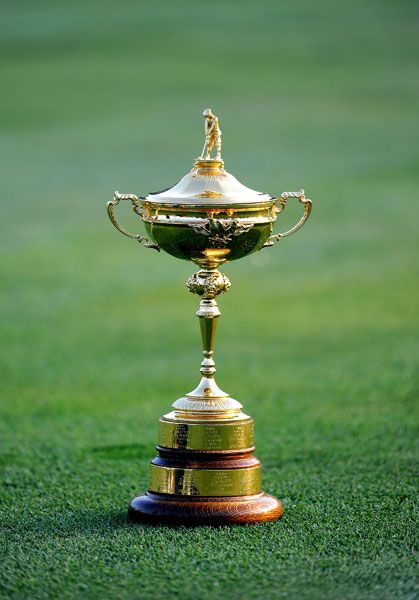The Ryder Cup Championship trophy. A regular international golf championship takes place between the USA and Great Britain golf teams.