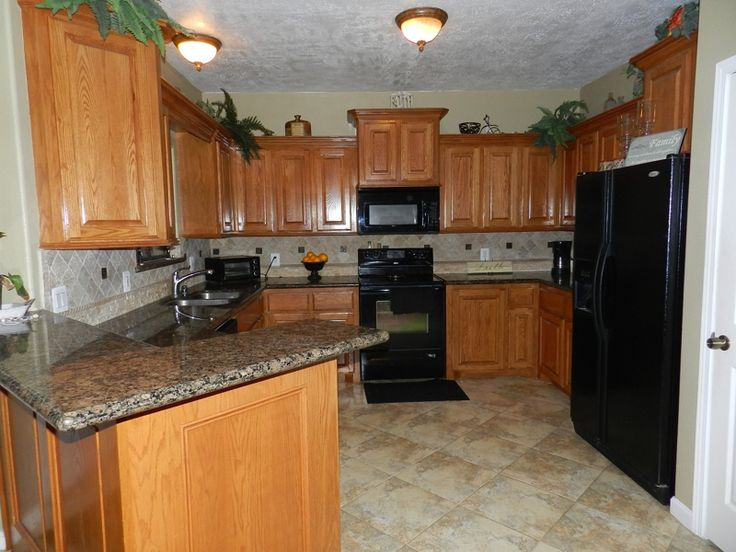 Kitchen Cabinets Black Appliances kitchens with oak cabinets with black appliances and granite