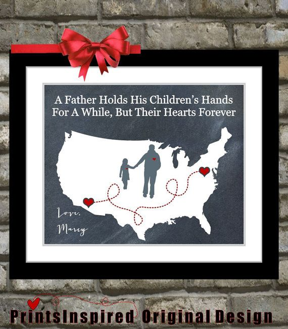 Gift For Dad Birthday Distance Map Hearts Father Quotes Picture Wall Art Print Decor Ideas Daddy From Daughter Son Hand Fathers Day