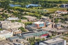 Aerial photo of the east side of UW's campus