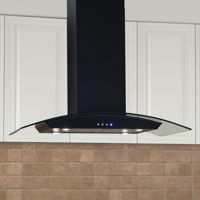 "Casa Series 36"" Stainless Steel Black Island Range Hood - 600 CFM Fan - Kitchen"