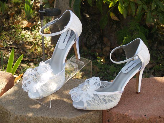 Wedding Lace Heels Ivory High Heels Lace Flower White Lace Shoes Wedding Peep Toe 3 1 2 Inch Heels White Lace Shoes Ivory High Heels Lace Heels