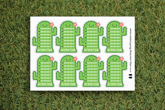 Hydration Cactus Planner Sticker Succulent Erin by TheWoodsAvenue