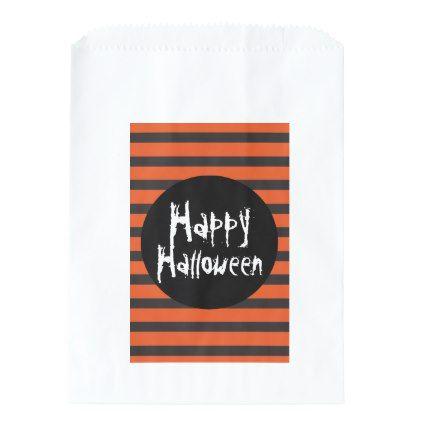 #Happy Halloween Orange Black Striped Spooky Font Favor Bag - #Halloween happy halloween #festival #party #holiday