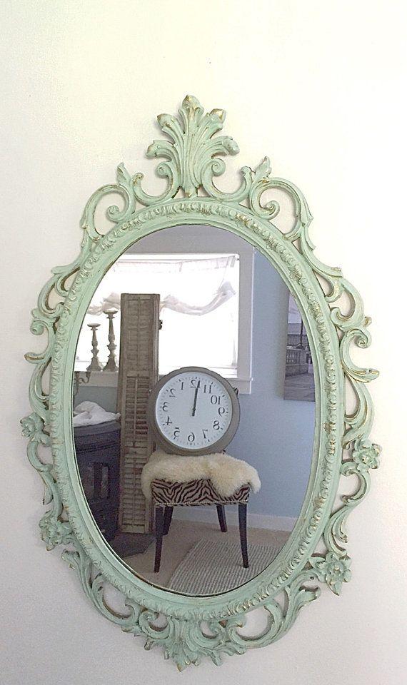 Baroque mirror mint green gold bathroom mirror by for Baroque bathroom mirror