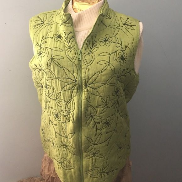 """Coldwater Creek Lime Green Vest Lime Green vest  with Embroidery. 100% rayon. Made in India. Zips up front. Length from shoulder to bottom of vest 23"""". Bust 40"""" Coldwater Creek Jackets & Coats Vests"""