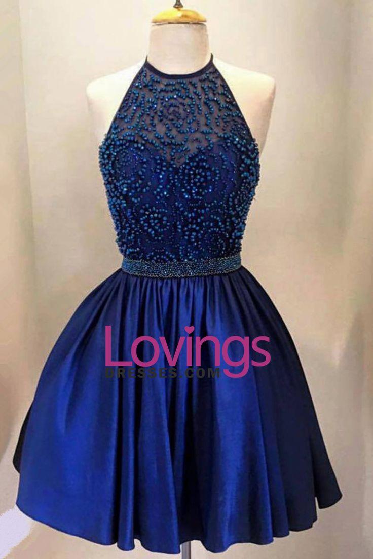 2016 Dark Royal Blue Homecoming Dresses Halter Beaded
