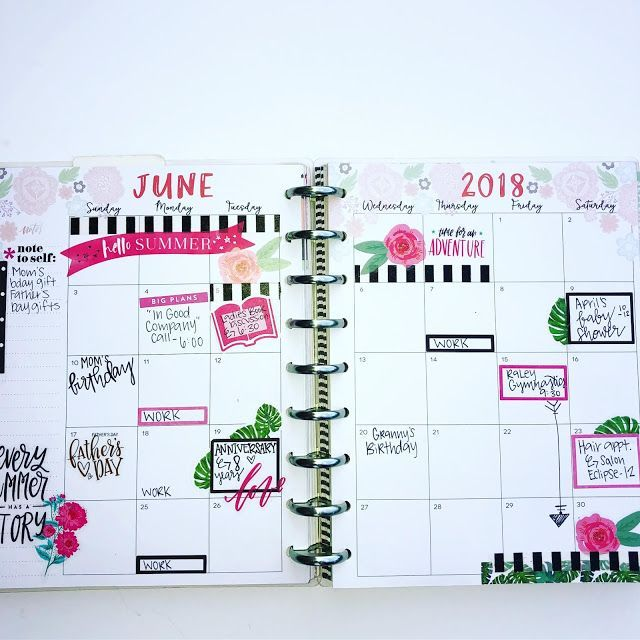 June 2018 Happy Planner Spreads Happy Planner Layout 365 Happy