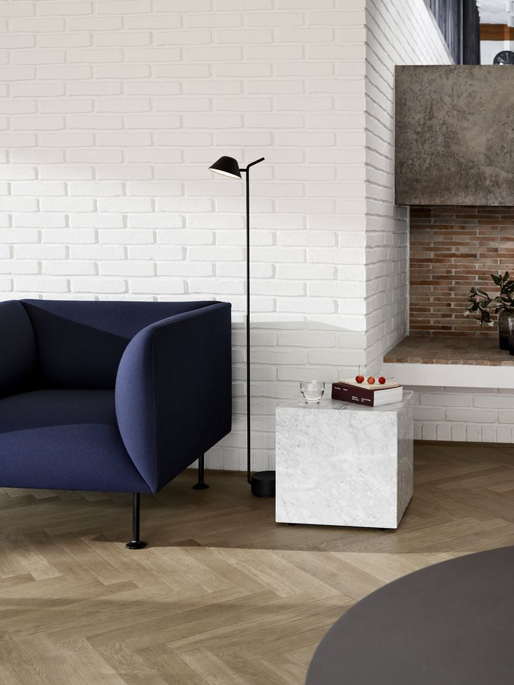 Godot Sofa, Plitnth Table, Peek floor lamp
