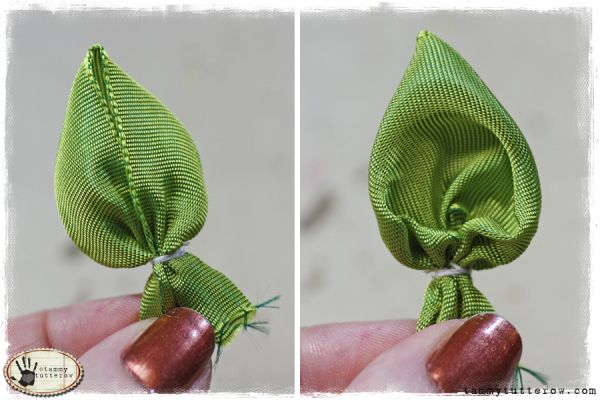 How to make ribbon flower leaves (scroll down page)