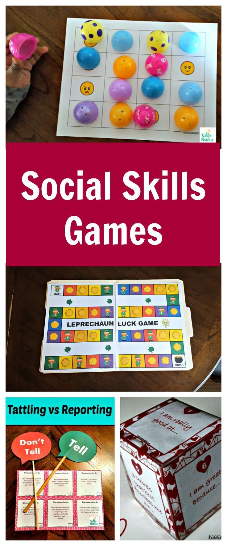 social skills games for teaching social skills such as perspective taking, communication, labeling feelings, problem solving and more.