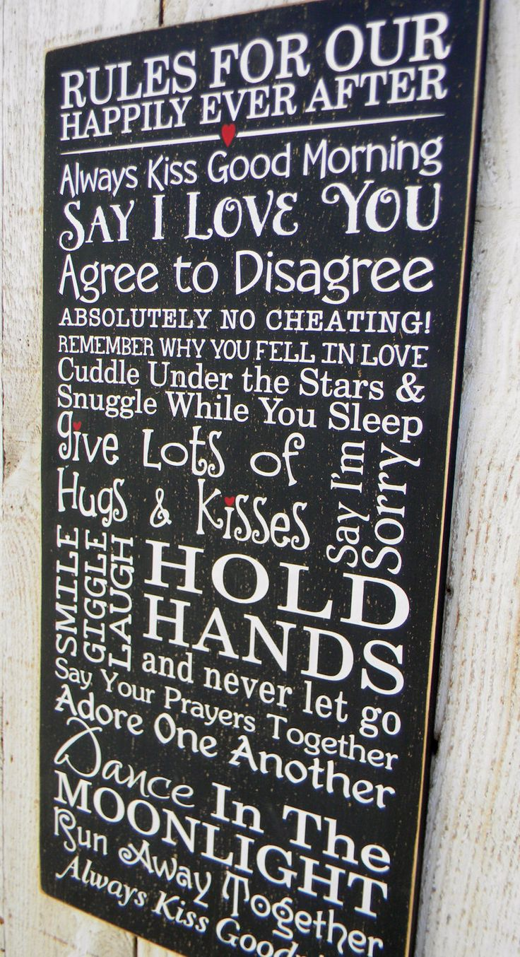 Rules For Our Happily Ever After -Happy Marriage typography word art subway wood sign. $46.00, via Etsy.